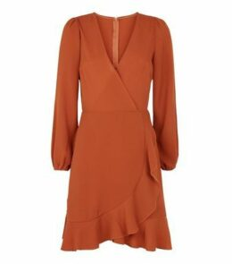 AX Paris Orange Long Sleeve Frill Wrap Dress New Look