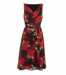 Mela Black Rose Cowl Neck Belted Midi Dress New Look