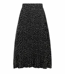 Brave Soul Black Spot Pleated Midi Skirt New Look