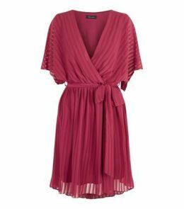 Burgundy Chiffon Stripe Tie Waist Wrap Dress New Look