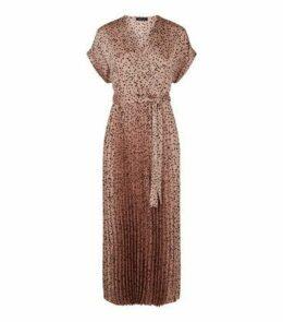 Brown Satin Spot Pleated Midi Dress New Look