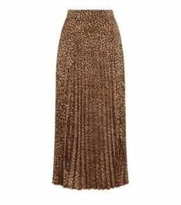 Brown Leopard Print Pleated Midi Skirt New Look