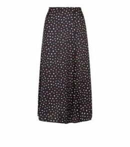 Black Satin Spot Side Split Midi Skirt New Look