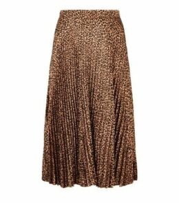 Curves Brown Satin Leopard Print Pleated Midi Skirt New Look