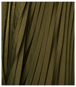 Curves Khaki Satin Pleated Midi Skirt New Look