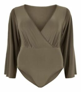 Just Curvy Khaki Wrap Flare Sleeve Bodysuit New Look