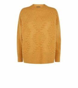 Mustard Bobble Argyle Knit Jumper New Look