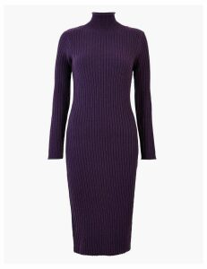 M&S Collection Ribbed Knitted Midi Dress