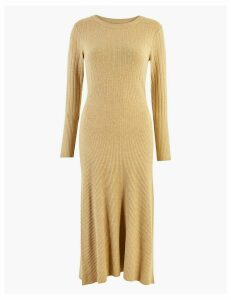 M&S Collection Ribbed Fit & Flare Knitted Midi Dress
