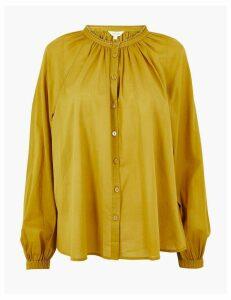 Per Una Pure Cotton Blouson Sleeve Blouse
