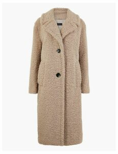 M&S Collection Faux Fur Longline Teddy Coat