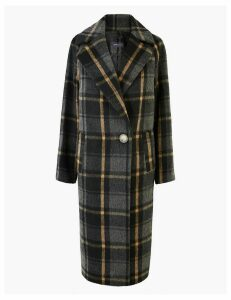 M&S Collection Checked Cocoon Overcoat