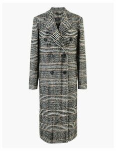 M&S Collection Wool Blend Checked Overcoat