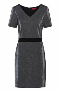 V-neck dress in sparkly jersey with in-seam zip