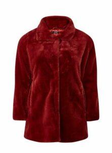 Red Faux Fur Coat, Rust