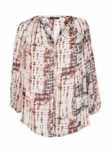 Ivory Tie Dye Print Sparkle Top, Ivory