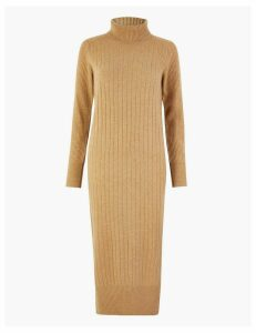 Autograph Pure Cashmere Ribbed Knitted Dress