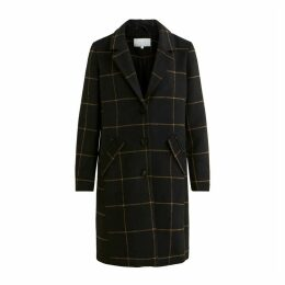 Long Checked Single-Breasted Coat with Pockets