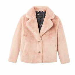Login Short Faux Fur Coat with Pockets