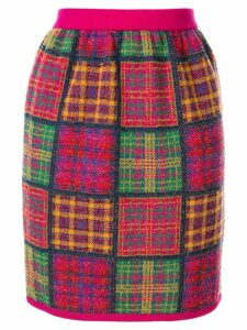 Yves Saint Laurent Pre-Owned checked plaid knitted skirt -
