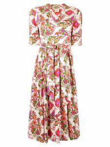 Hermès Pre-Owned floral wrap dress - White