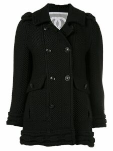 Chanel Pre-Owned herringbone-rib coat - Black