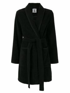 Chanel Pre-Owned belted robe coat - Black