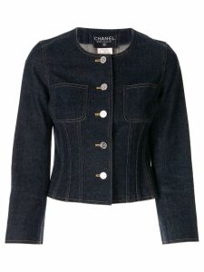 Chanel Pre-Owned collarless buttoned denim jacket - Blue