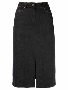 Céline Pre-Owned logo patch midi skirt - Blue