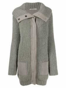 Balenciaga Pre-Owned 2000s flappy collar chunky knit coat - Neutrals