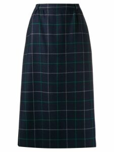 Burberry Pre-Owned 1990s checked A-line midi skirt - Blue