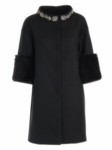 TwinSet Coat 3/4s W/swarovsky On Neck
