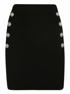 Balmain Side Button Embellished Skirt