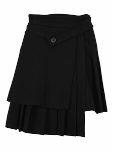 Off White Pleated Asymmetric Skirt