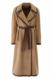 Alberta Ferretti Coat With Faux Leather Hems
