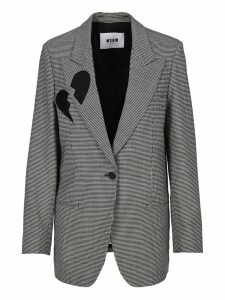 Msgm Micro Houndstooth Print Single-breasted Blazer
