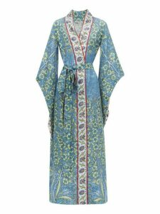 D'ascoli - Bodrum Floral Print Silk Faille Maxi Dress - Womens - Blue Multi