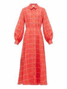 Mara Hoffman - Liliana Checked Linen Blend Shirtdress - Womens - Red White