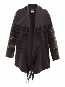 Moncler - Mantella Fringed Quilted Velvet Coat - Womens - Grey