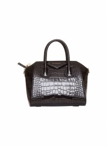Givenchy Small Antigona Leather In Crocodile Print