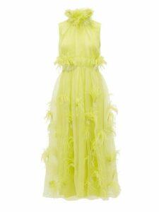 Roksanda - Karea Feather And Beaded Silk Organza Gown - Womens - Green