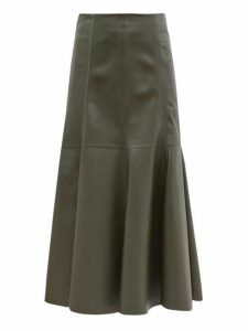 Gabriela Hearst - Amy Fluted Leather Midi Skirt - Womens - Khaki