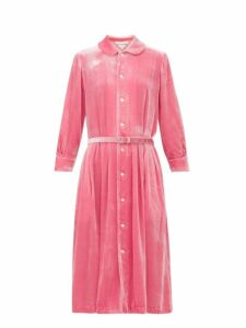Comme Des Garçons Girl - Belted Peter Pan Collar Velvet Dress - Womens - Pink