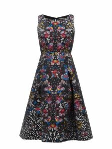 Mary Katrantzou - Tallon Floral Brocade Fit And Flare Dress - Womens - Black Multi