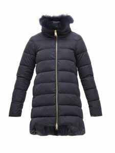Herno - Cashmere Trimmed Satin Shell Down Coat - Womens - Navy