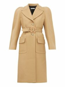 Givenchy - Exaggerated Shoulder Belted Wool Blend Coat - Womens - Camel