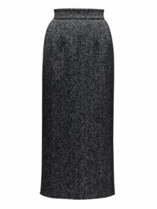 Dolce & Gabbana - High Rise Wool Blend Herringbone Pencil Skirt - Womens - Grey Multi