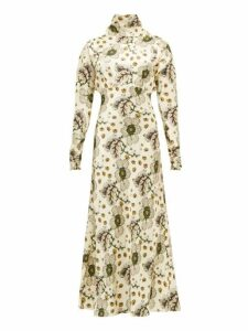 Etro - Leicester High Neck Floral Print Satin Dress - Womens - Ivory Multi