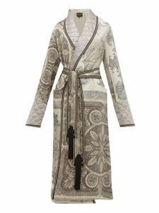 Etro - Derby Paisley Print Quilted Satin Robe Coat - Womens - Grey Multi