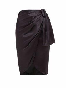 Altuzarra - Polly Asymmetric Draped Satin Skirt - Womens - Dark Blue